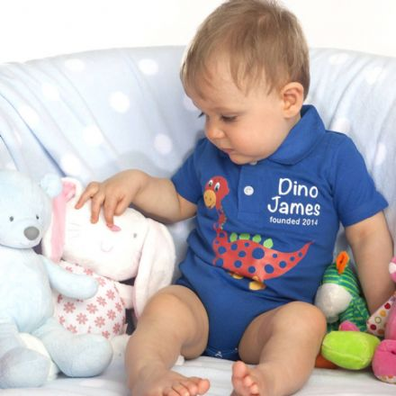 Personalised 'Dino' Polo Body Suit With Name